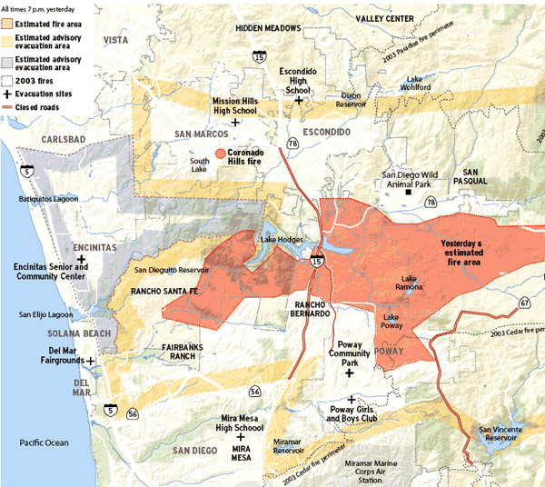 witch creek fire, san diego fire map, rice canyon fire, fallbrook